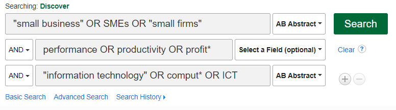 1st search box contains: 'small business' OR SMEs OR 'small firms' ; 2nd search box contains: performance Or productivity OR profit*; 3rd search box contains 'information technology' OR comput* OR ICT