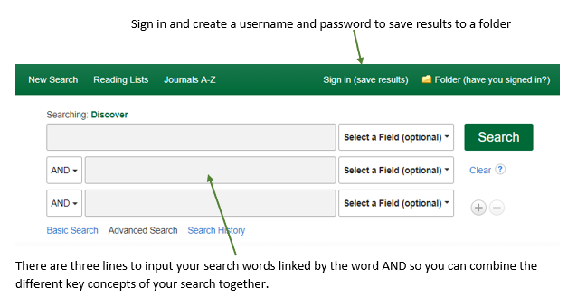 A screenshot of the advanced search box, with a 'Sign in (save results)' option and different search boxes to string search terms together.