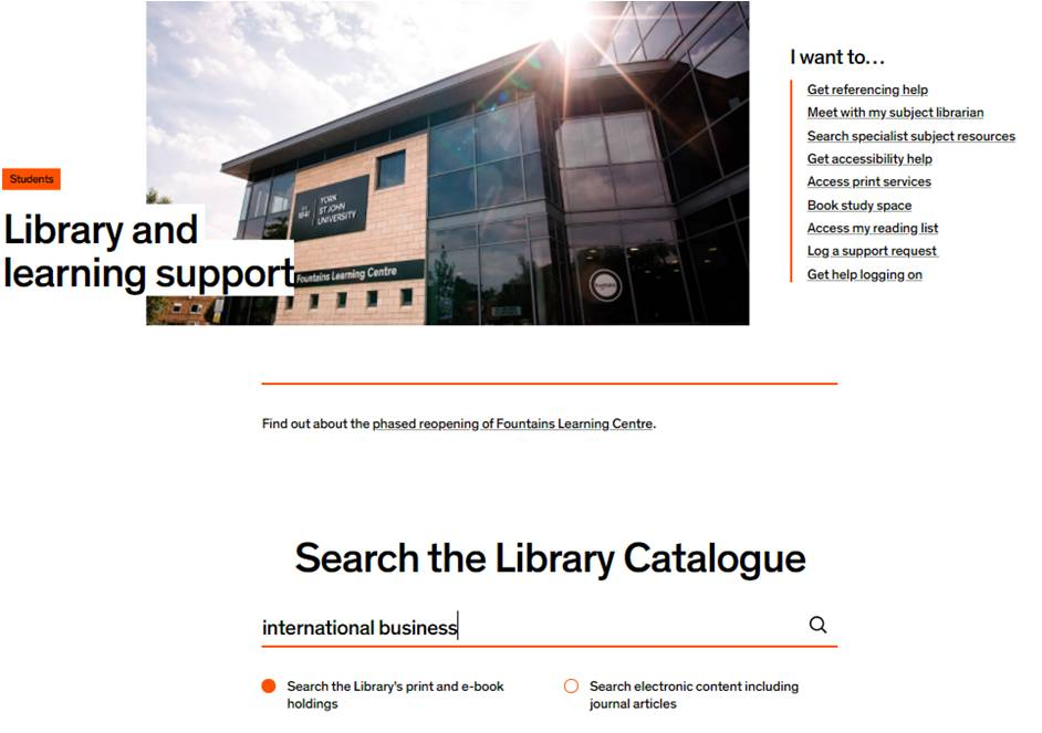 Library catalogue search for international business