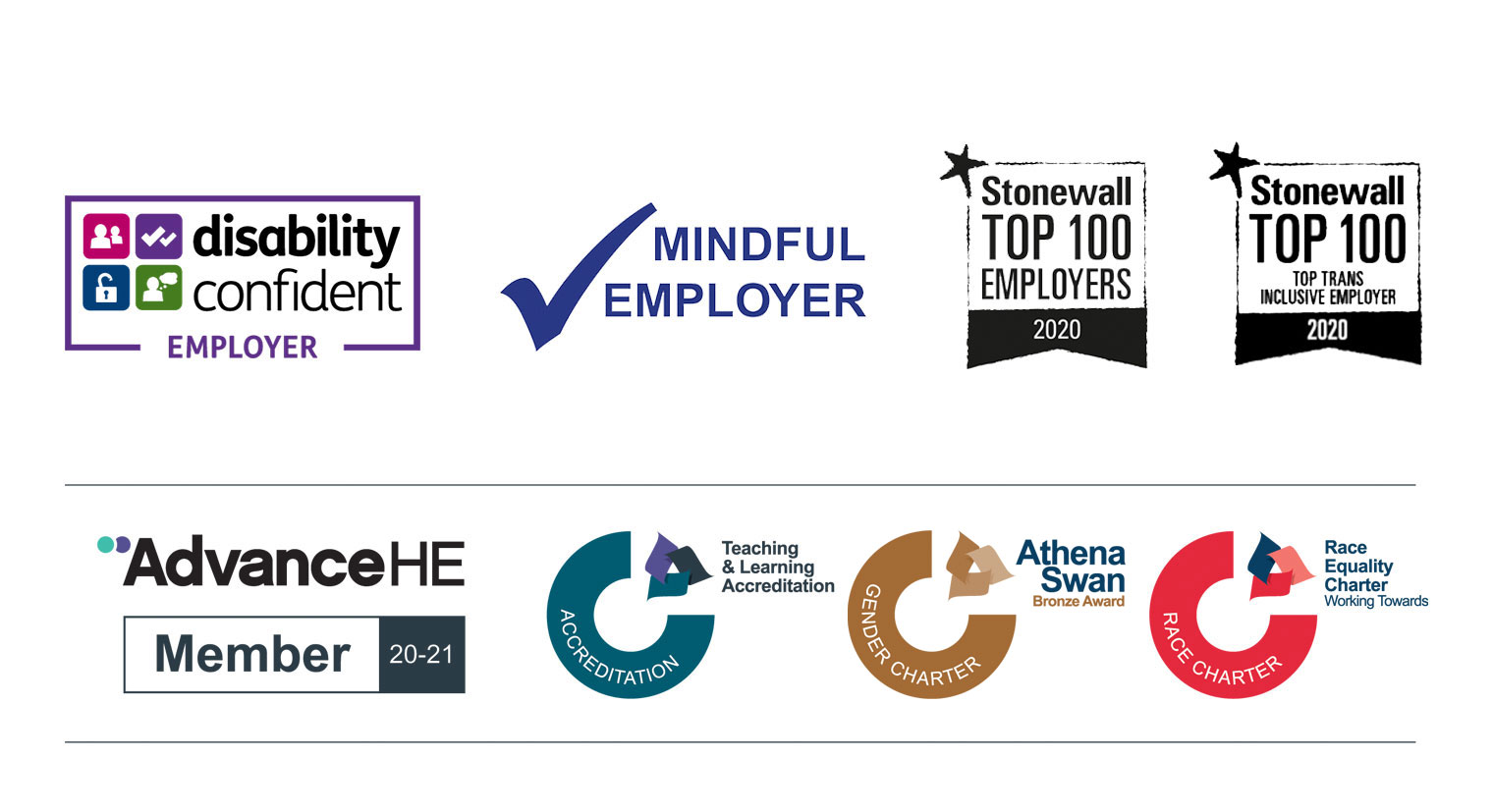 Collection of logos for awards relating to Equality and Diversity