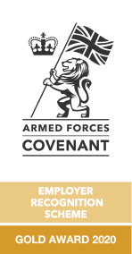 Armed Forces Covenant employer recognition gold award logo