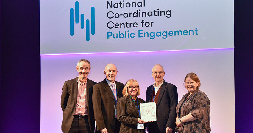 York St John collecting the Public Engagement Award