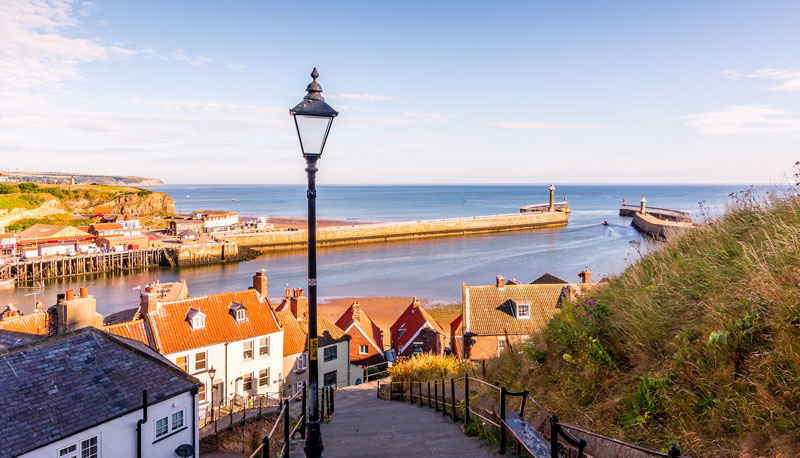 An image of steps and harbour area on the North Yorkshire coast