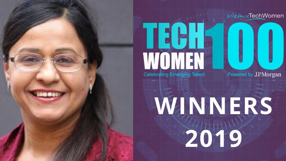 A portrait of Dr Kulvinder Panesar with Tech Women 100 branding