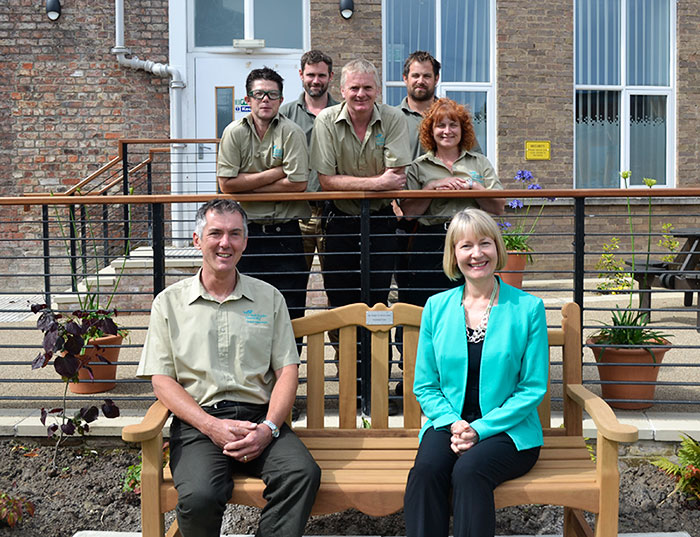 Professor Karen Stanton, Vice Chancellor, is pictured with Rob Scott, Head Gardener, and his team.