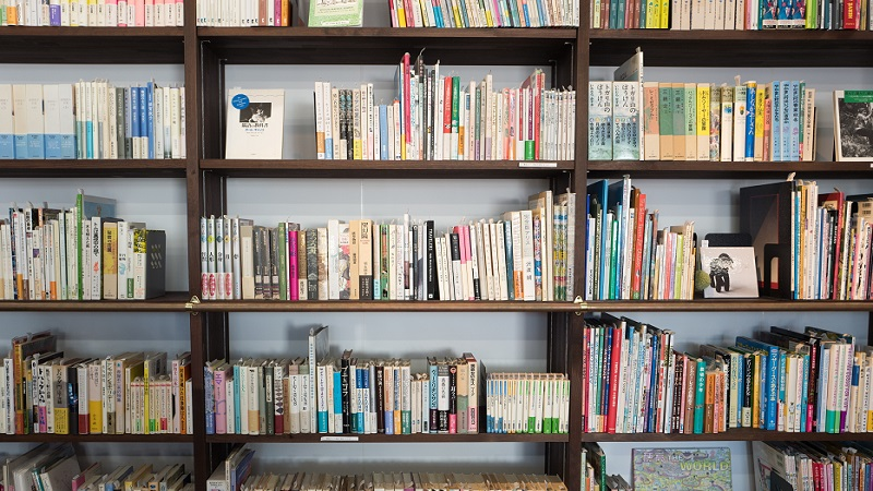 Academic books on shelves