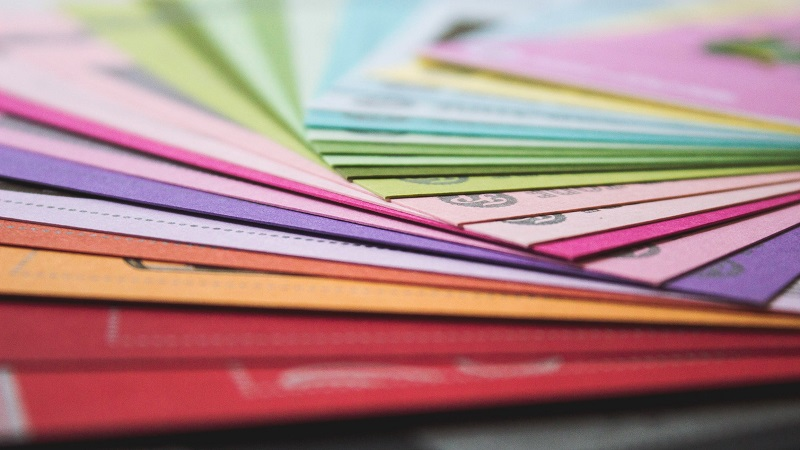Coloured folders close up