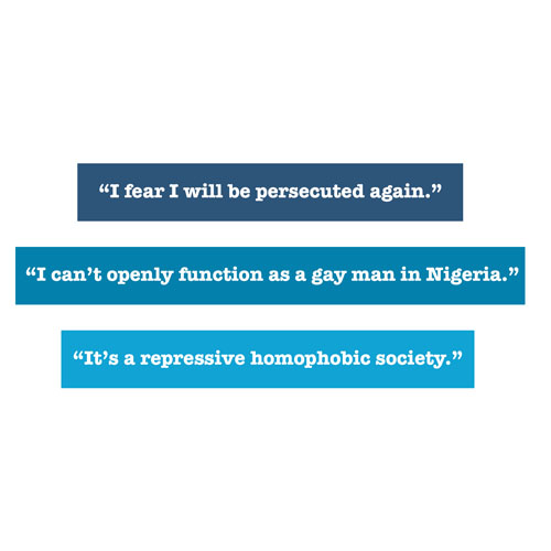 Quotes about experiences of asylum seekers I fear I will be persecuted again I can't openly function as a gay man in Nigeria It's a repressive homophobic society