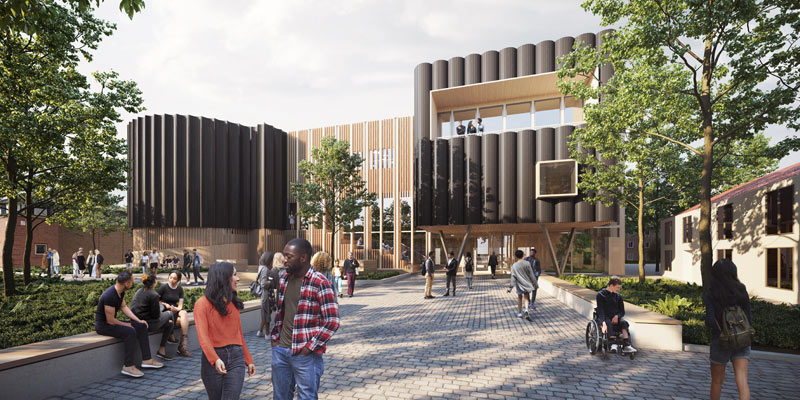 Artists impression of the new Creative Centre building on campus with trees in the foreground