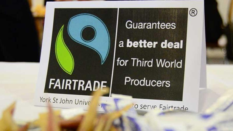 Fairtrade sign at coffee stall in conference