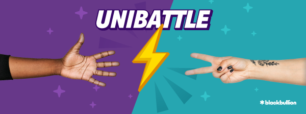 Unibattle name with two hands playing rock, paper, scissors with lightning bolt in the middle.